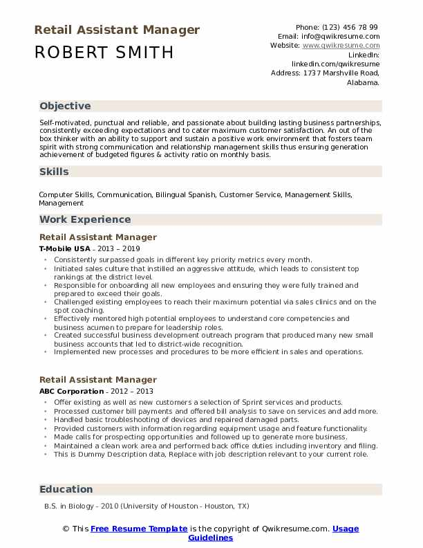 Retail Assistant Manager Resume example