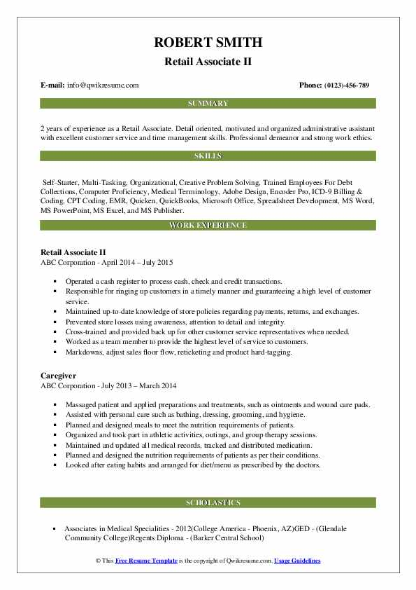 Retail Associate II Resume Sample