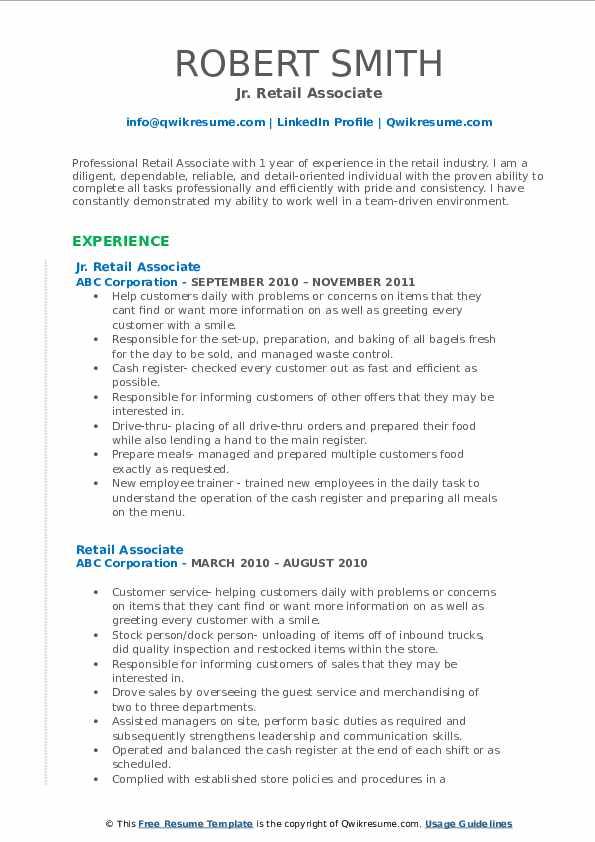 Jr. Retail Associate Resume Template