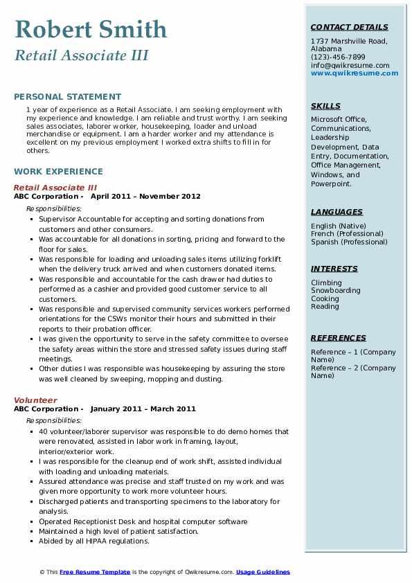 Retail Associate III Resume Format