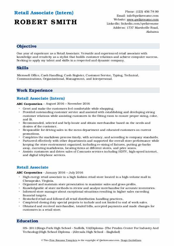 Retail Associate (Intern) Resume Sample
