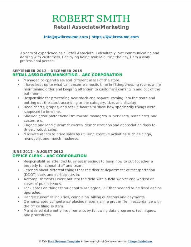 Retail Associate/Marketing Resume Format