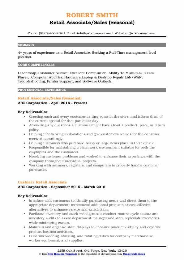 Retail Associate/Sales (Seasonal) Resume Format