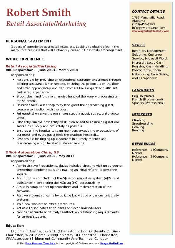 Retail Associate/Marketing Resume Model
