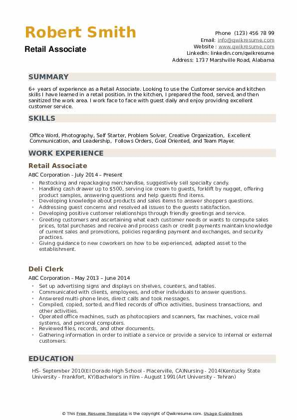 Retail Associate Resume Samples Qwikresume