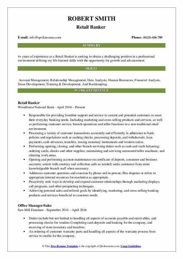 Retail Banker  Resume Model