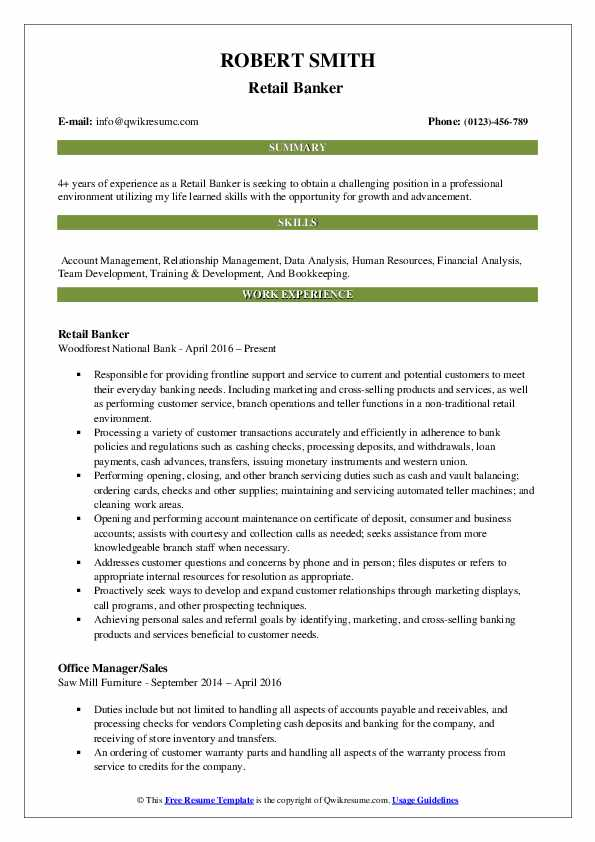 Retail Banker  Resume Format