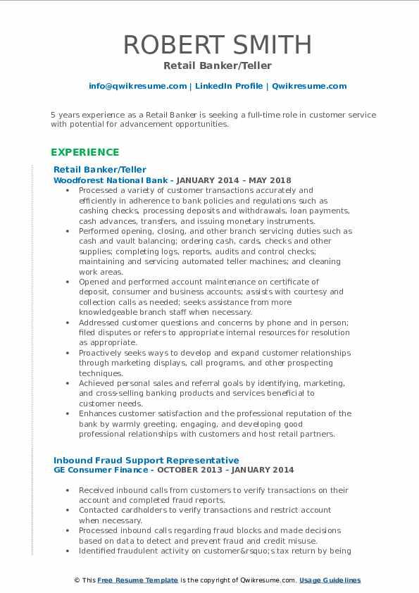 Retail Banker/Teller Resume Example