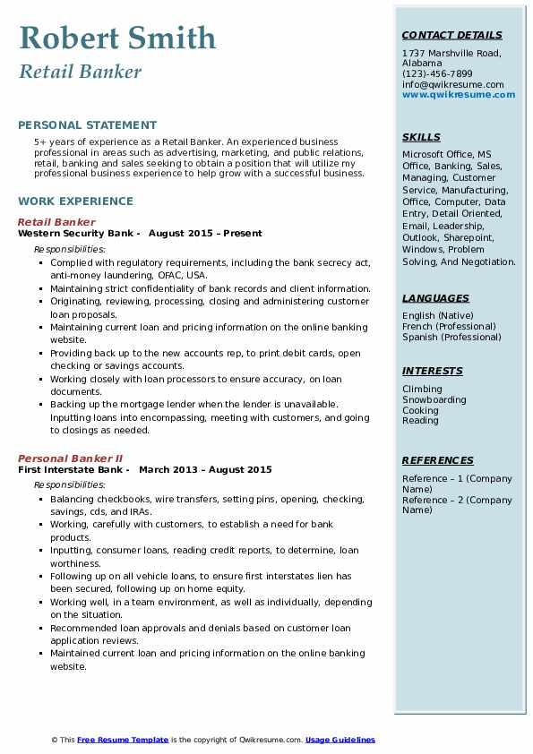 Retail Banker  Resume Template