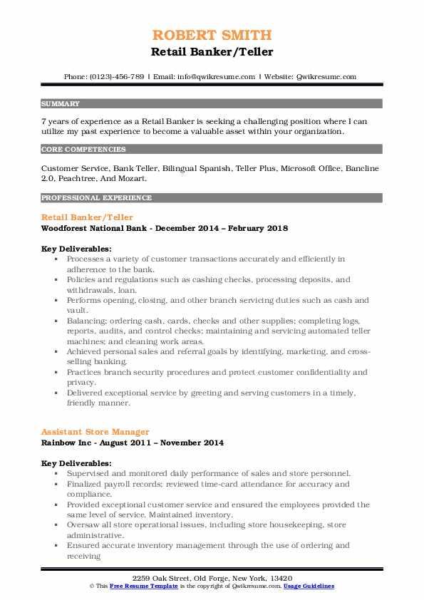 Retail Banker/Teller Resume Sample