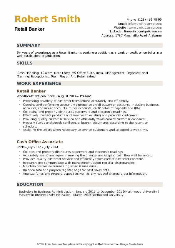 Retail Banker Resume example