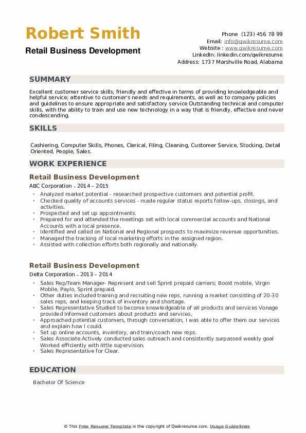 Retail Business Development Resume example