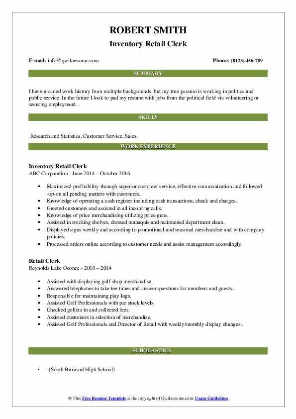 Inventory Retail Clerk Resume Format