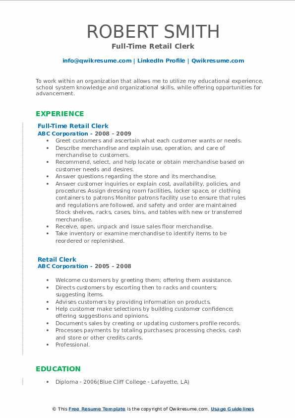 Full-Time Retail Clerk Resume Model