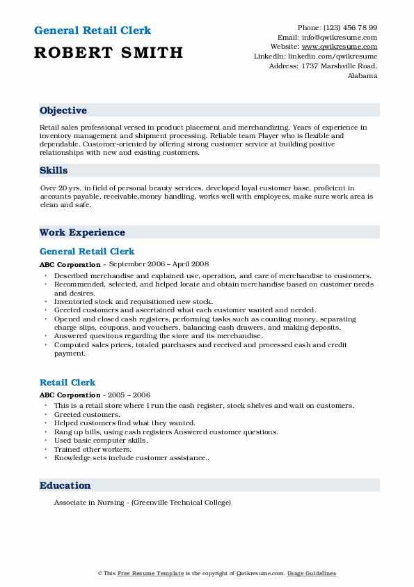 General Retail Clerk Resume Format