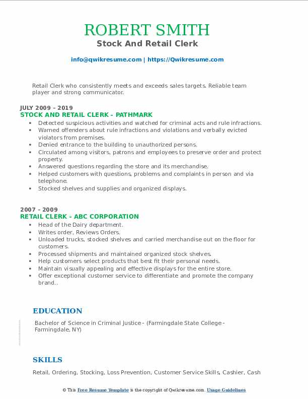 Stock And Retail Clerk Resume Model