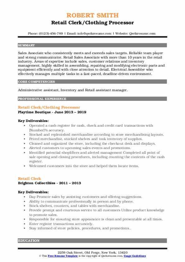 Retail Clerk/Clothing Processor Resume Sample