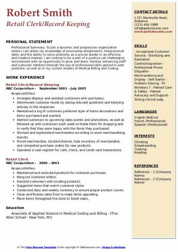 Retail Clerk/Record Keeping Resume Format