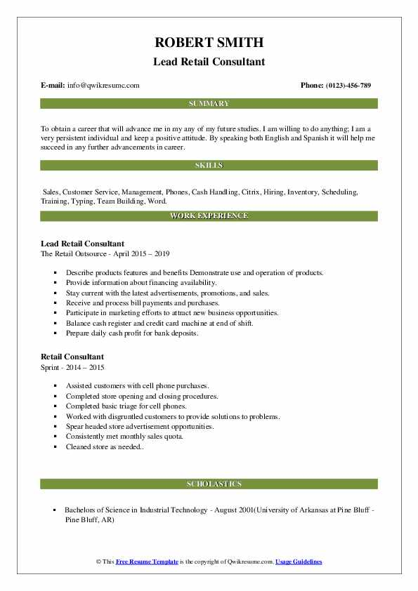 Lead Retail Consultant Resume Example