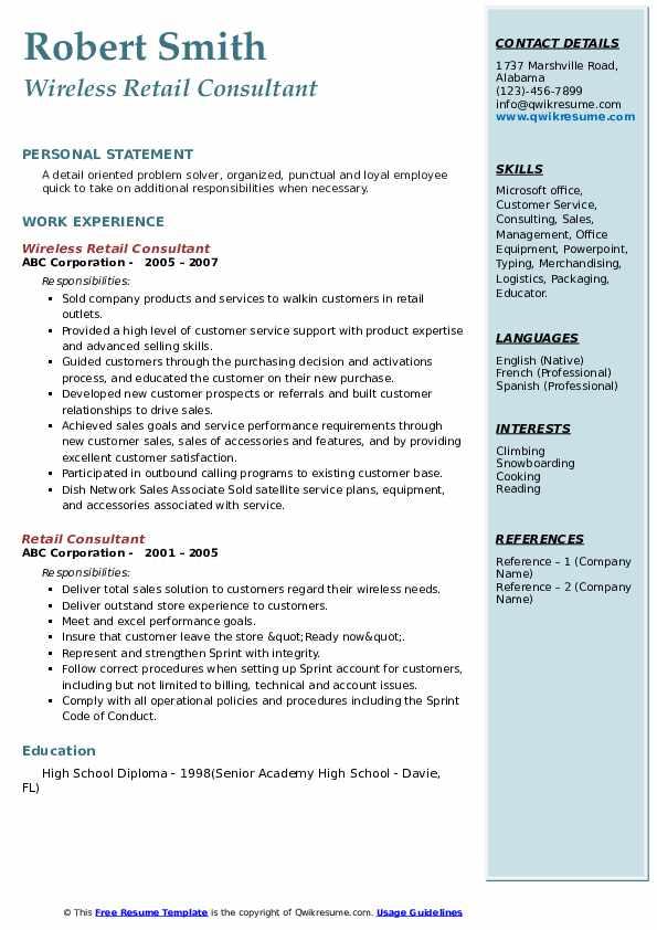 retail consultant resume samples