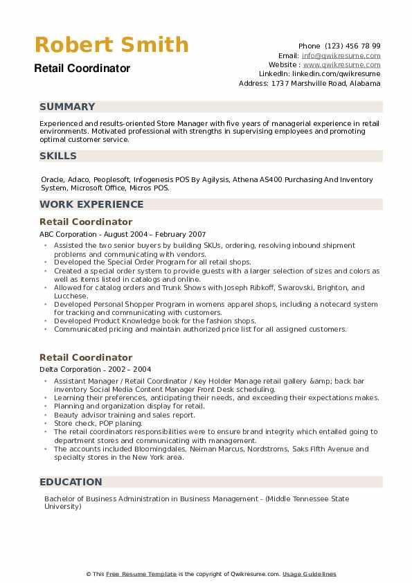 Retail Coordinator Resume example