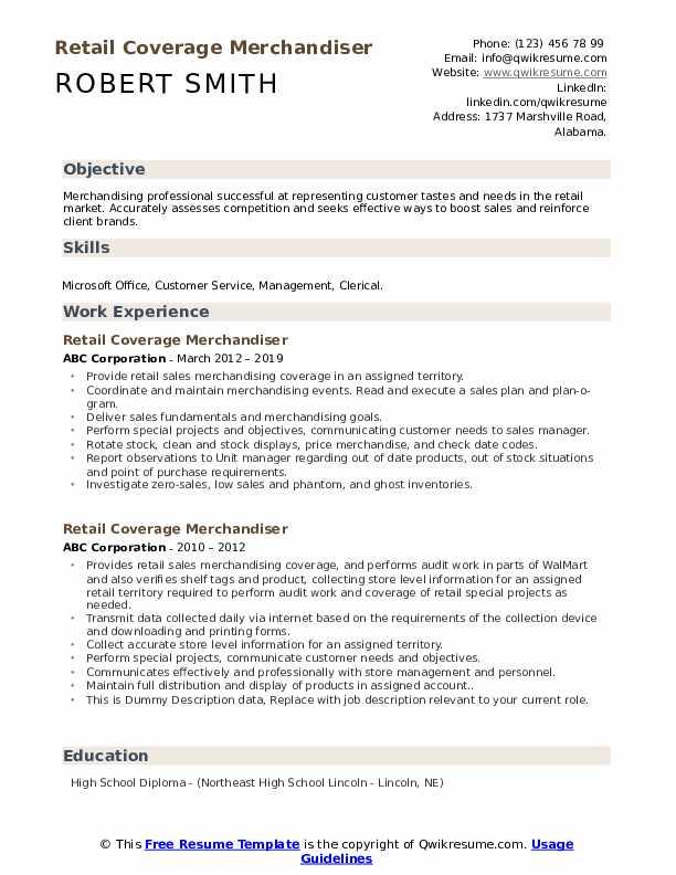Retail Coverage Merchandiser Resume example