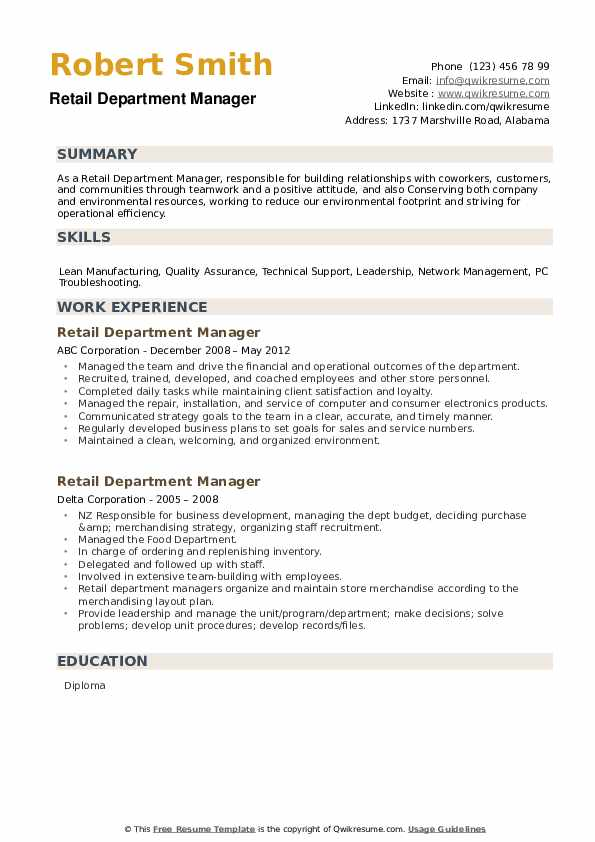 Retail Department Manager Resume example
