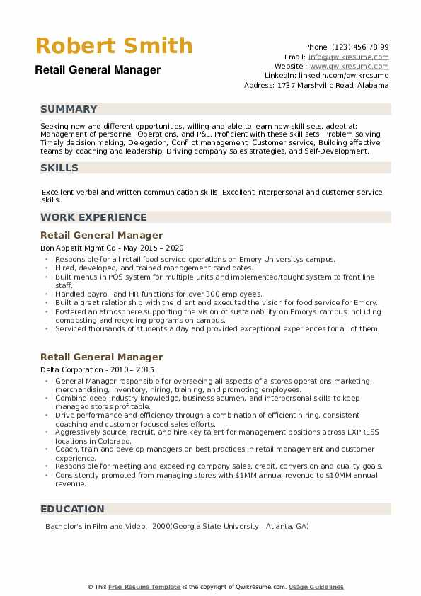 Retail General Manager Resume example