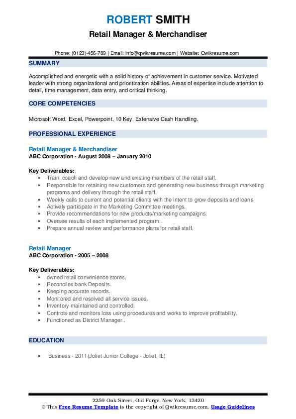 Retail Manager & Merchandiser Resume Example