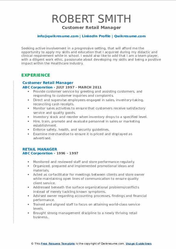 Customer Retail Manager Resume Format
