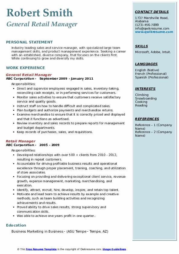 General Retail Manager Resume Sample
