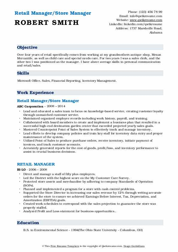 Retail Manager/Store Manager Resume Model