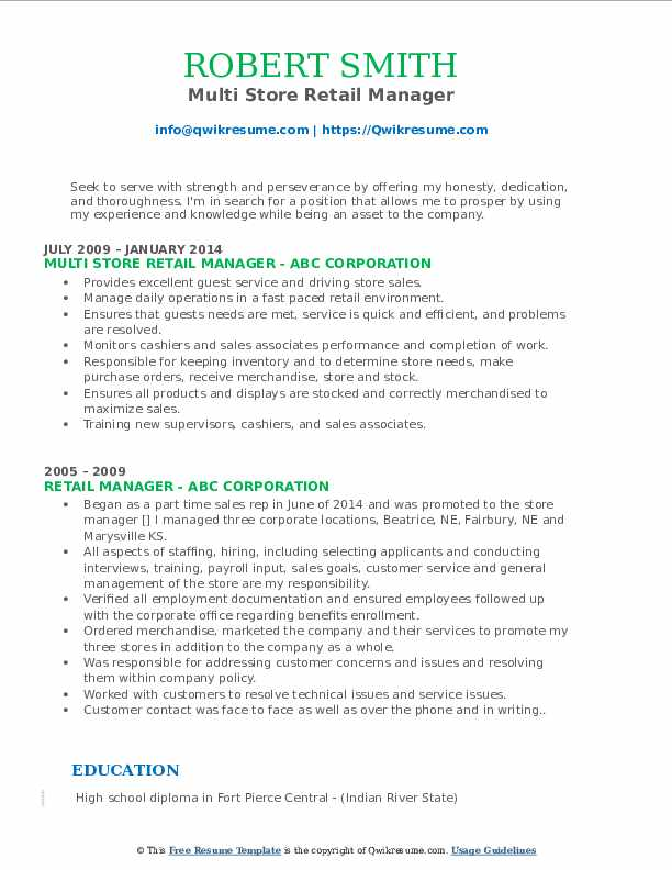 Multi Store Retail Manager Resume Example