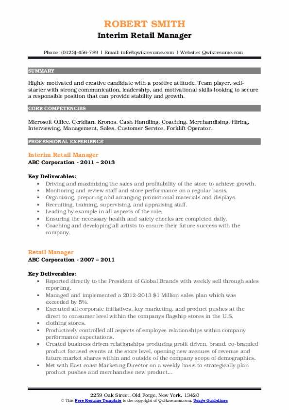 Interim Retail Manager Resume Example