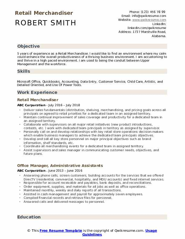 Retail Merchandiser Resume Samples Qwikresume