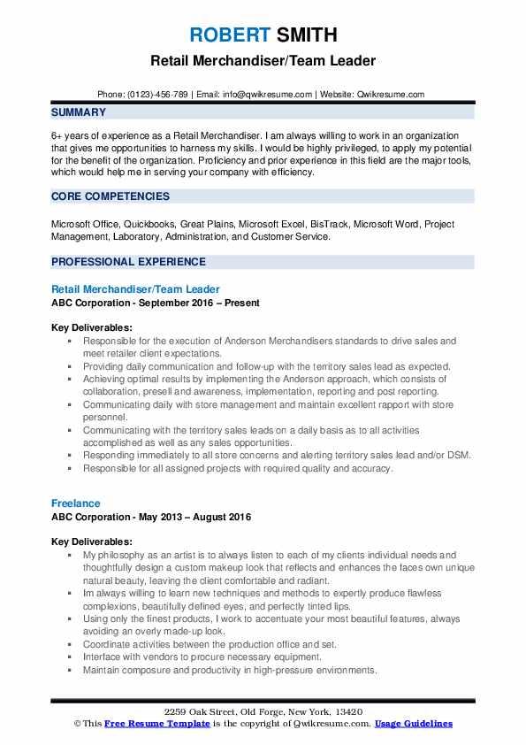 Retail Merchandiser/Team Leader Resume Model