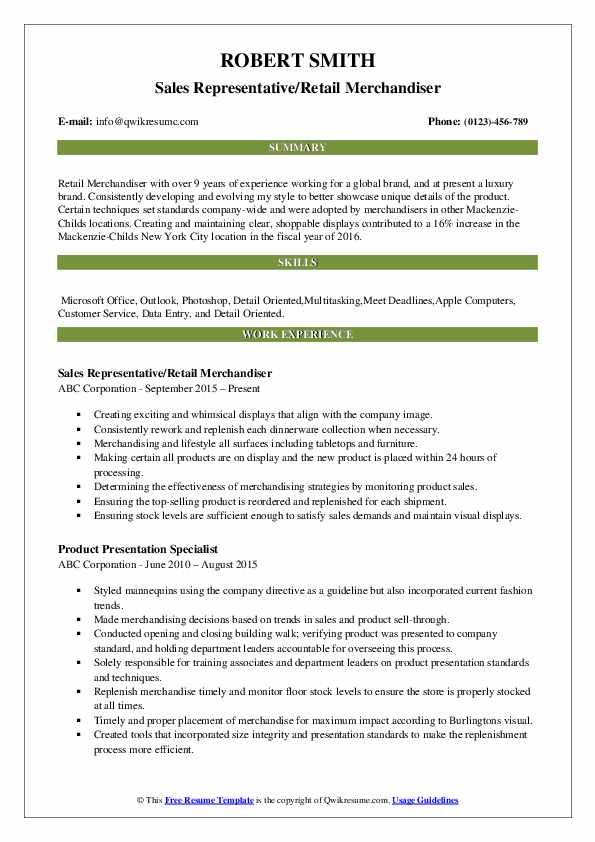 Sales Representative/Retail Merchandiser Resume Format