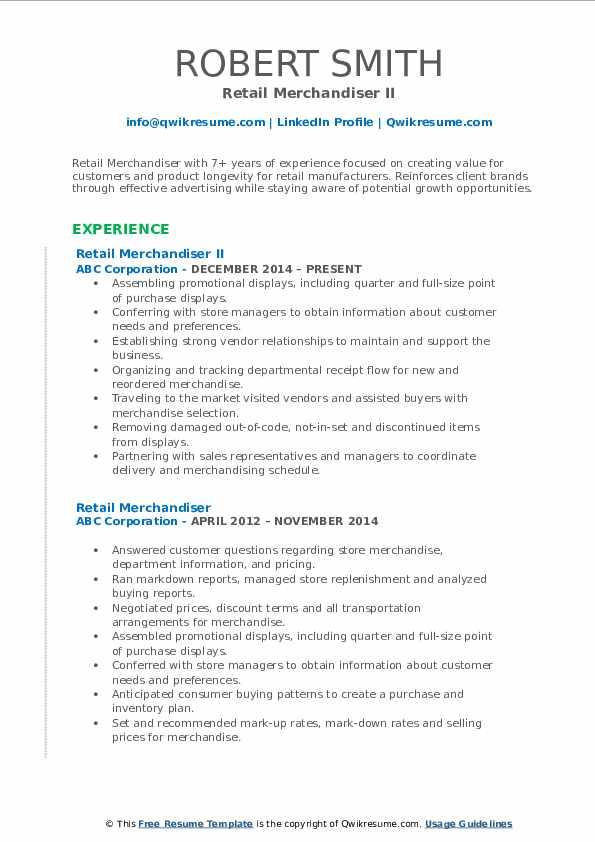 Retail Merchandiser II Resume Format