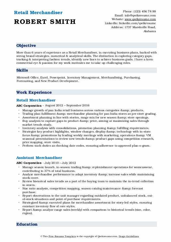 Retail Merchandiser Resume Samples | QwikResume