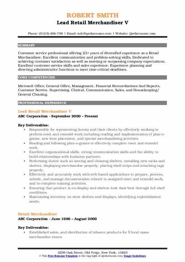 Lead Retail Merchandiser V Resume Sample