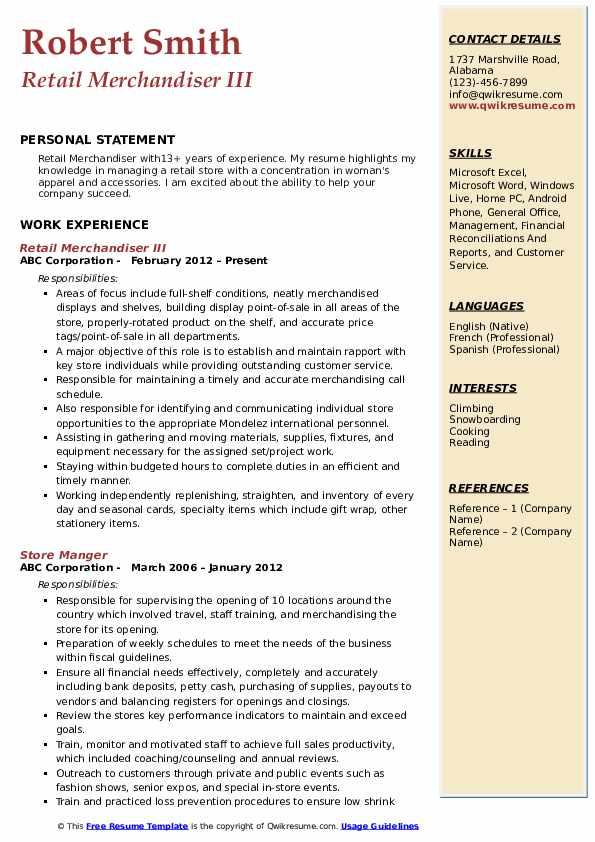 Retail Merchandiser III Resume Model