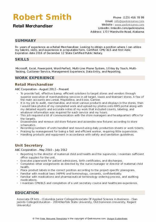 Retail Merchandiser Resume example