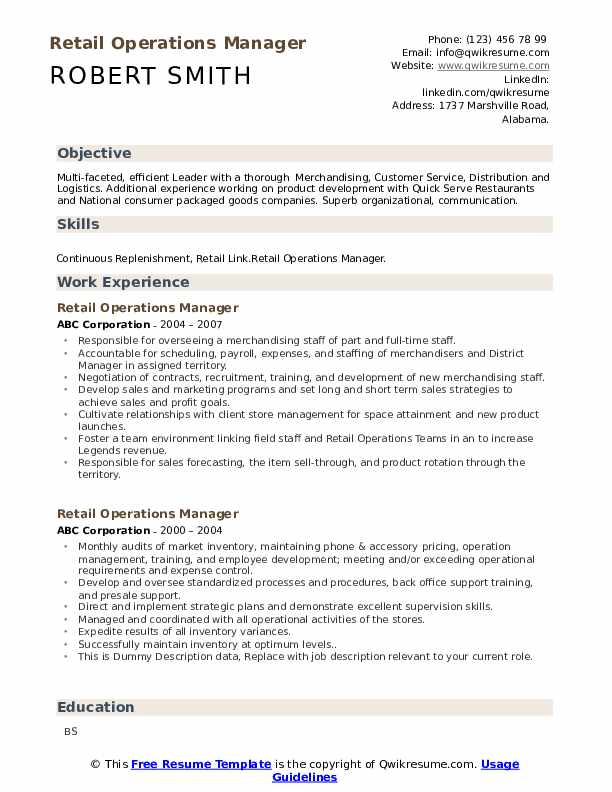 Retail Operations Manager Resume Samples Qwikresume
