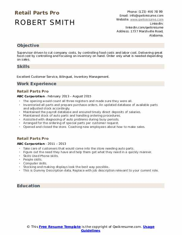 Retail Parts Pro Resume example