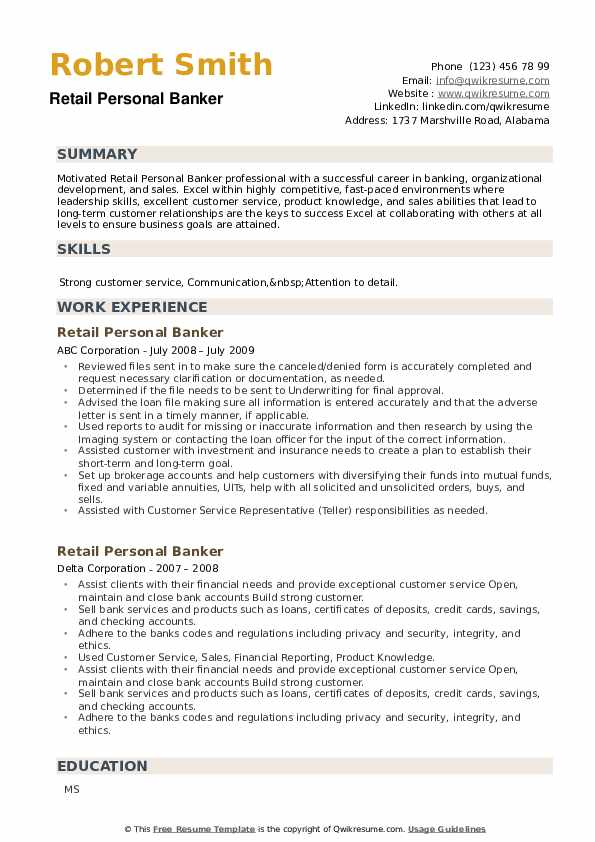 Retail Personal Banker Resume example