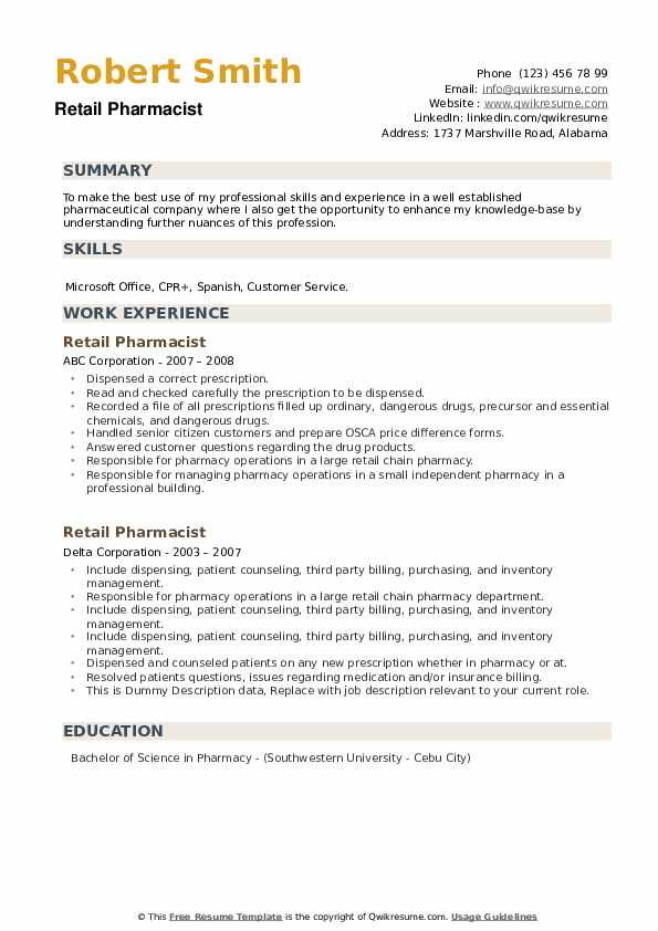 Retail Pharmacist Resume example