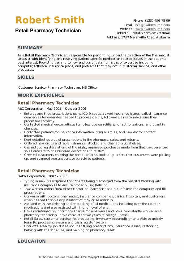 Retail Pharmacy Technician Resume example