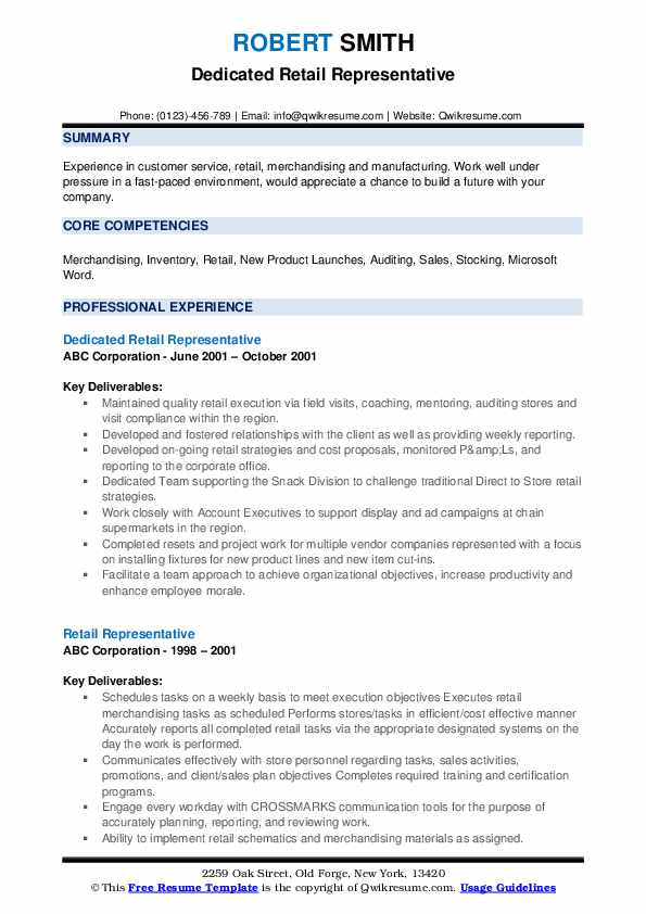 Dedicated Retail Representative Resume Template
