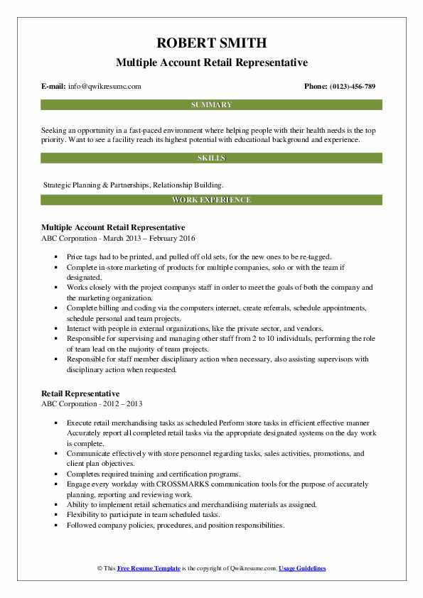 Multiple Account Retail Representative Resume Model