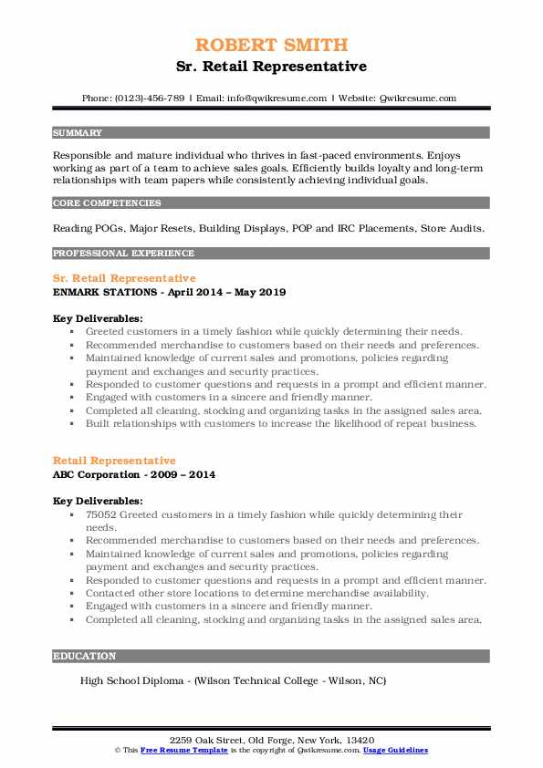 Sr. Retail Representative Resume Sample